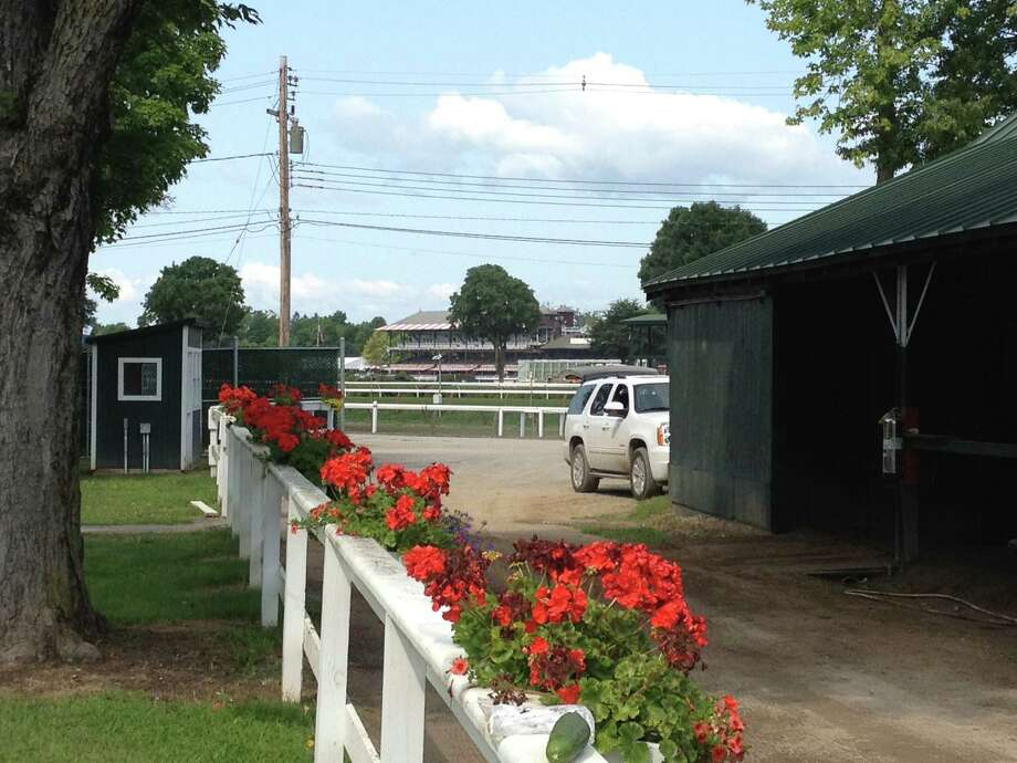 It doesn't really matter where you are on the grounds of Saratoga, you are going to get some kind of view of the race track. Like this one, from the barn area of trainer Dale Romans, which is located on the far turn on the Spa backstretch. You would be hard pressed to find a shot of the track that isn't a good one. Right or wrong? —Tim Wilkin