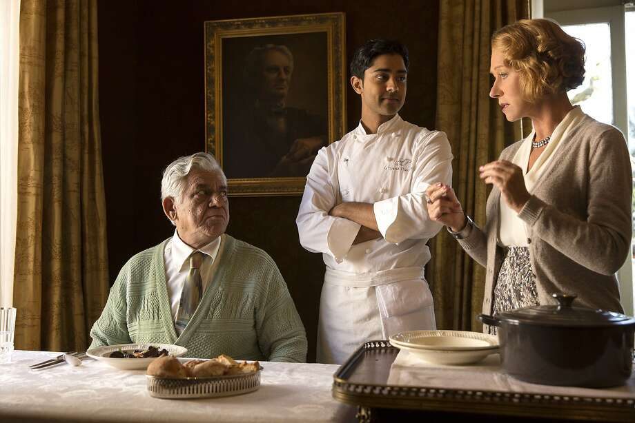 """This image released by DreamWorks II shows, from left, Om Puri, Manish Dayal and Helen Mirren in a scene from """"The Hundred-Foot Journey."""" (AP Photo/François Duhamel, DreamWorks II) Photo: Francois Duhamel, Associated Press"""