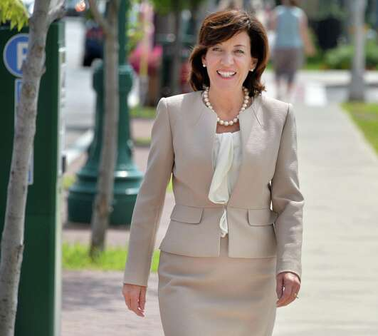 Lieutenant governor candidate Kathy Hochul on her way to a meeting with Schenectady Mayor Gary McCarthy and County Legislature Vice Chair Karen Johnson Friday August 8, 2014, in Schenectady, NY.  (John Carl D'Annibale / Times Union) Photo: John Carl D'Annibale / 00028100A