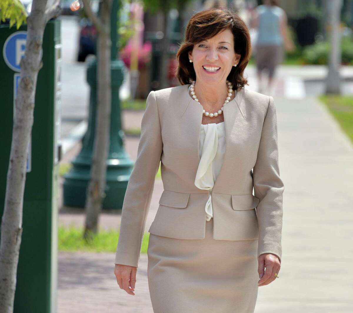 Lieutenant governor candidate Kathy Hochul on her way to a meeting with Schenectady Mayor Gary McCarthy and County Legislature Vice Chair Karen Johnson Friday Aug. 8, 2014, in Schenectady, N.Y. (John Carl D'Annibale / Times Union)