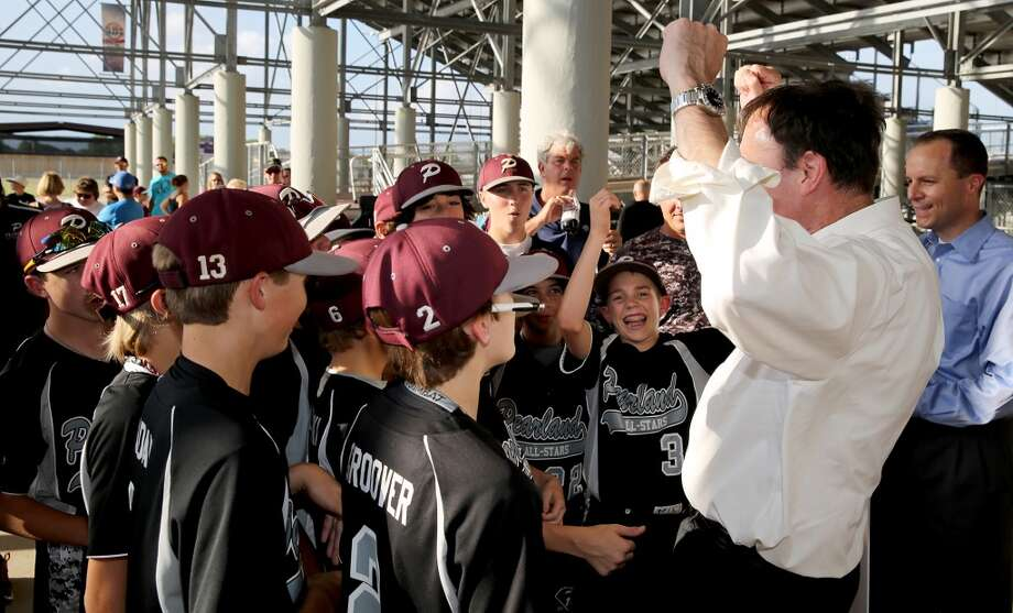 8/8/14: Congressman, Pete Olson, representing the 22nd district fires up the Pearland little leaguers the Pearland Little League send off fundraise party at the RIG in Pearland, TX. (Photo by Thomas B. Shea for the Houston Chronicle).
