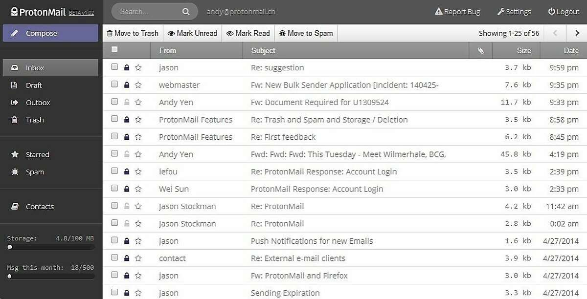 A screenshot of ProtonMail. ProtonMail is a Swiss-based email service that is surveillance-proof. It has raise over $500,000 USD on Indiegogo.com.