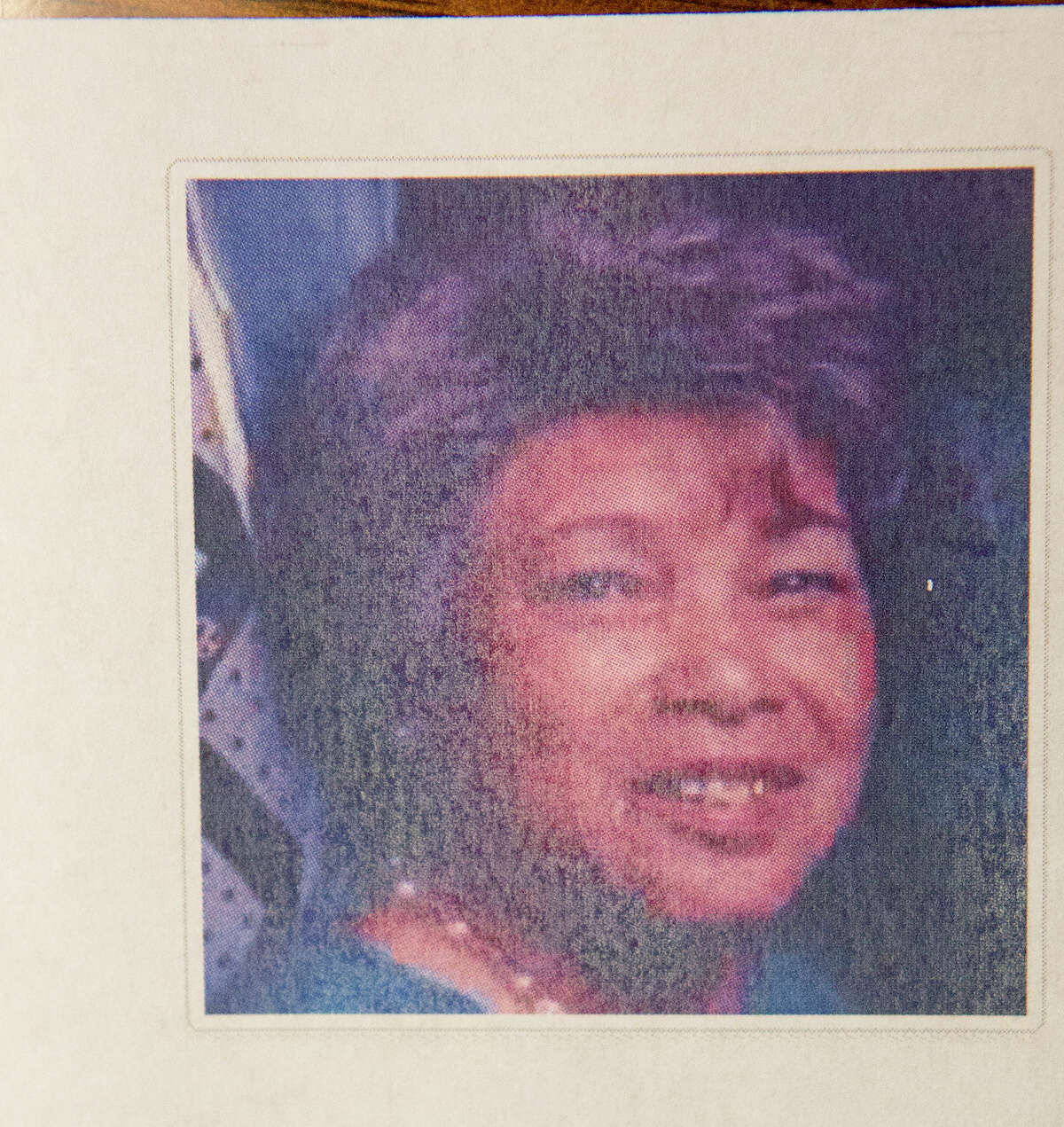 A photo of Pearlie Jean Deason is seen during a press conference, Friday, Aug. 8, 2014, in Houston. Mabrie Memorial Mortuary mixed up the deceased bodies of two Houston mothers, Edna L. Lawson and Deason and buried Deason's body in Lawson's cemetery plot at the VA cemetery on top of the body of Lawson's deceased husband, a World War II Veteran. Lawson passed away on July 19, 2014 and Mrs. Deason passed away on July 22, 2014. (Cody Duty / Houston Chronicle)