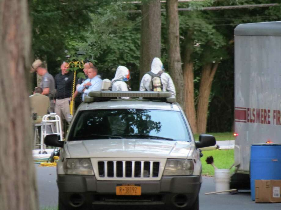 State Police and Hazmat officials are at the scene of a home on Paxwood Road in Delmar. (Tom Heffernan / Special to the Times Union)