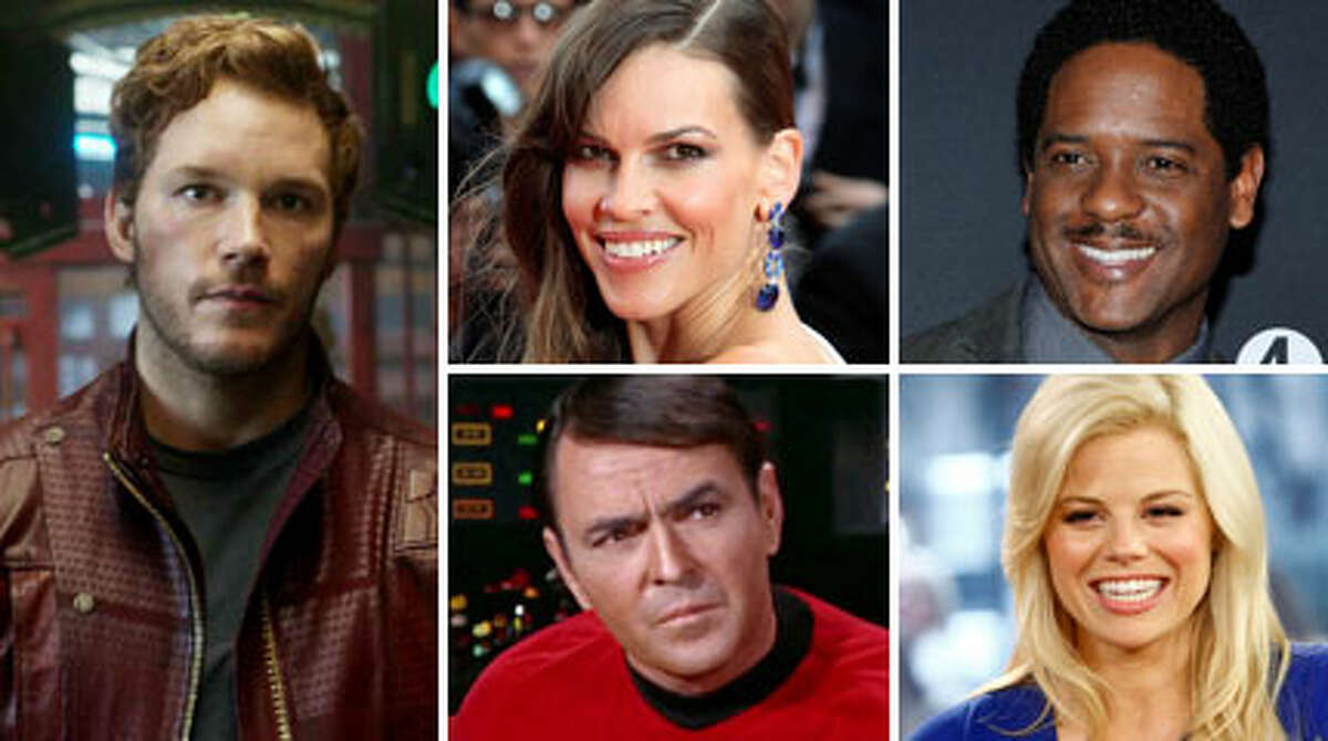 Chris Pratt, Hilary Swank, Blair Underwood, Megan Hilty and James Doohan (from left, clockwise) are among the many celebrities with Northwest roots, with ties to Seattle or Washington.