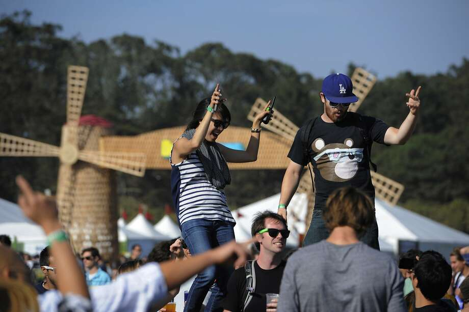 Clarissa Chang and Matt Strangeway dance at the Outside Lands Music Festival in Golden Gate Park on August 08, 2014 in San Francisco, CA. Photo: Craig Hudson, The Chronicle