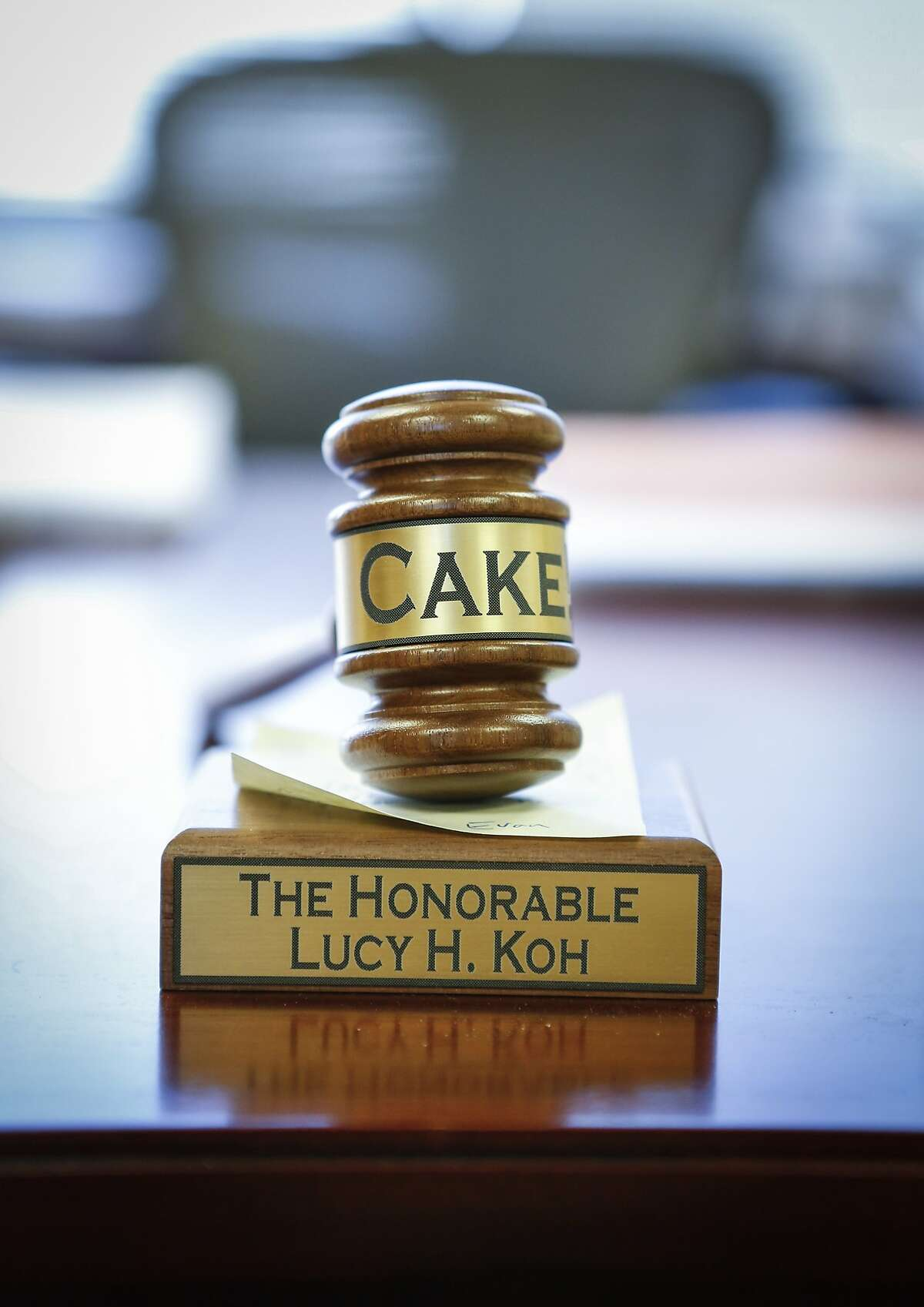 A keepsake given to United States District Court Judge Lucy Koh by a former extern is seen on her desk in her chambers in the Robert F. Peckham Federal Building on Tuesday, July 29, 2014 in San Jose, Calif. Koh frequently hosts cake parties on the birthdays of judges and Court staff. She also has these for her law clerks and externs on their first day, last day, and birthday,