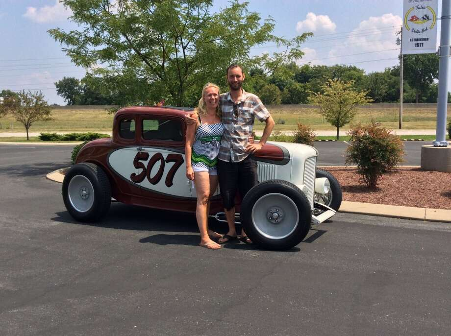 Martin Lundqvist and his wife, Mia, of Stockholm, Sweden, with their 1932 Ford. Lundqvist plans to ship the car to America and drive it to Pleasanton in time for the West Coast Nationals show.