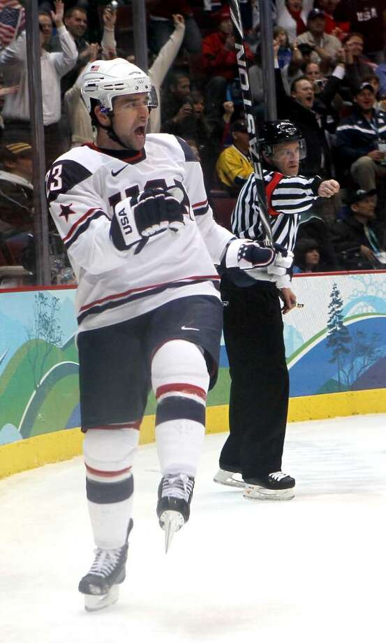 VANCOUVER, BC - FEBRUARY 18:  Chris Drury of The United States celebrates after scoring his team's second goal during the ice hockey men's preliminary game between USA and Norway on day 7 of the 2010 Winter Olympics at Canada Hockey Place on February 18, 2010 in Vancouver, Canada.  (Photo by Bruce Bennett/Getty Images) *** Local Caption *** Chris Drury Photo: Bruce Bennett, Getty Images / 2010 Getty Images