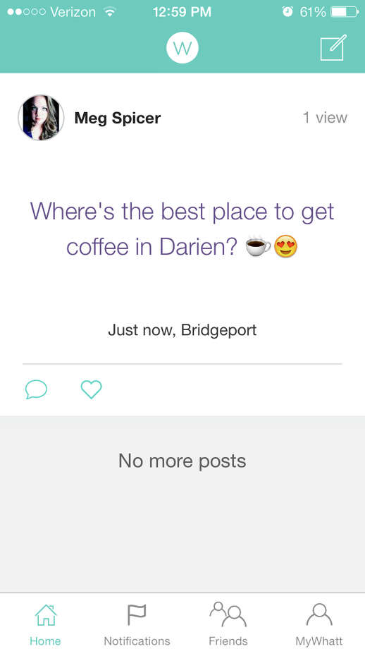 Whatt allows users to update their social network with simple text-based posts. Photo: Contributed Photo, Contributed / Darien News Contributed