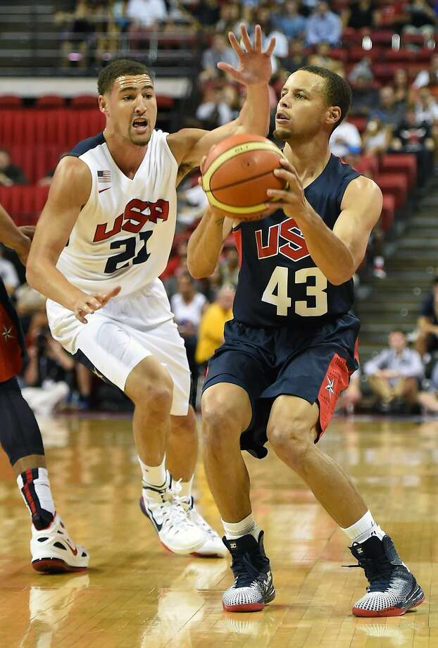 LAS VEGAS, NV - AUGUST 01:  Stephen Curry #43 of the 2014 USA Basketball Men's National Team is guarded by Klay Thompson #21 of the 2014 USA Basketball Men's National Team during a USA Basketball showcase at the Thomas & Mack Center on August 1, 2014 in Las Vegas, Nevada. Photo: Ethan Miller, Getty Images