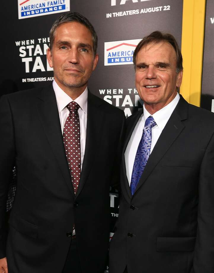 Actor Jim Caviezel (left) plays then-De La Salle football coach Bob Ladouceur (right). Photo: Christopher Polk, Getty Images