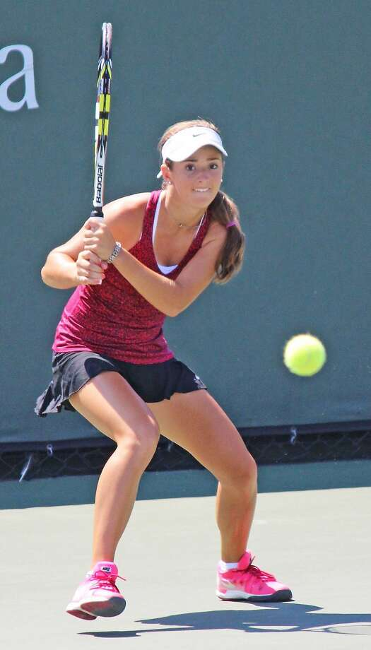 Atherton's CiCi Bellis returns a shot in the USTA Girls' 18s title match. Photo: J. Fred Sidhu