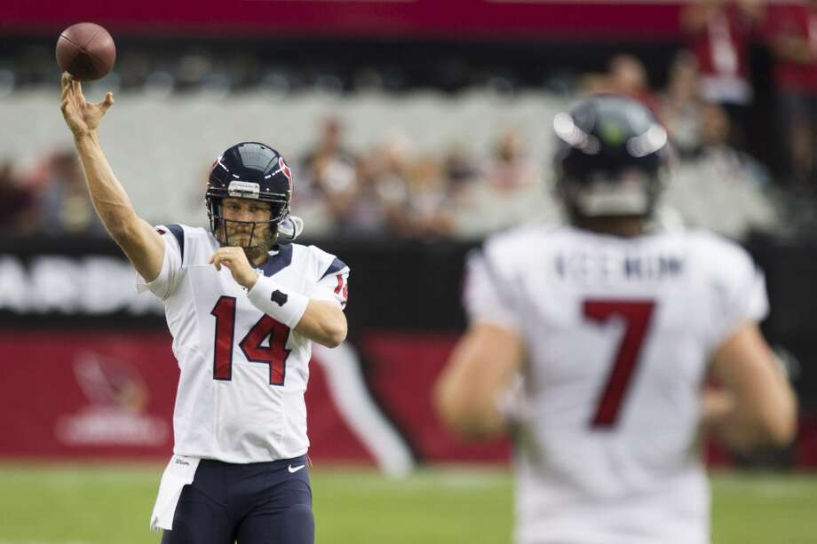 Houston Texans quarterback Ryan Fitzpatrick (14) warms up with Case Keenum (7) before an NFL pre-season football game against the Arizona Cardinals at University of Phoenix Stadium Saturday, Aug. 9, 2014, in Glendale, Ariz. ( Brett Coomer / Houston Chronicle ) Photo: Brett Coomer, Houston Chronicle
