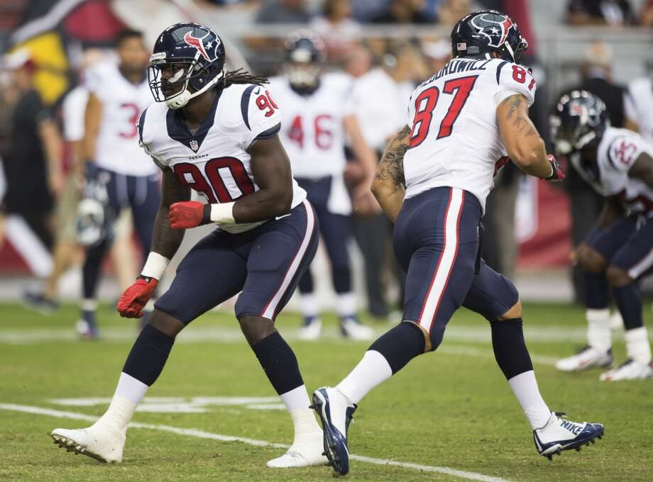 Houston Texans linebacker Jadeveon Clowney (90) drops back into coverage before an NFL pre-season football game against the Arizona Cardinals at University of Phoenix Stadium Saturday, Aug. 9, 2014, in Glendale, Ariz. ( Brett Coomer / Houston Chronicle ) Photo: Brett Coomer, Houston Chronicle