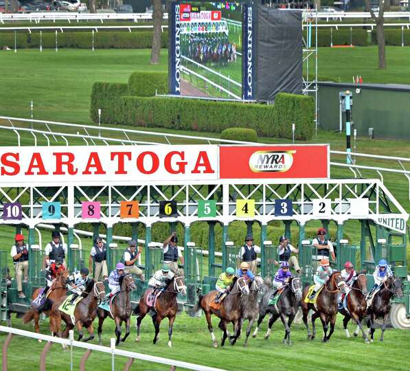 The start of the sixth race at Saratoga Race Course Saturday August 9, 2014, in Saratoga Springs, NY