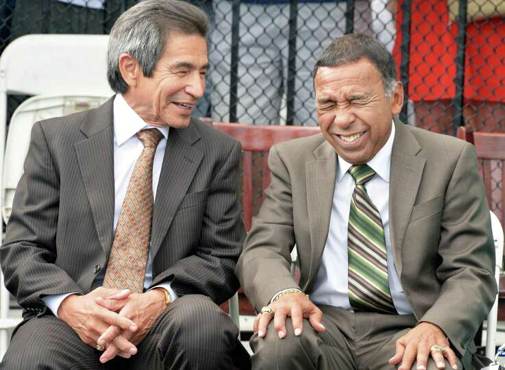 Legendary jockeys Laffit Pincay, left, and Angel Cordero share a laugh during the first-ever