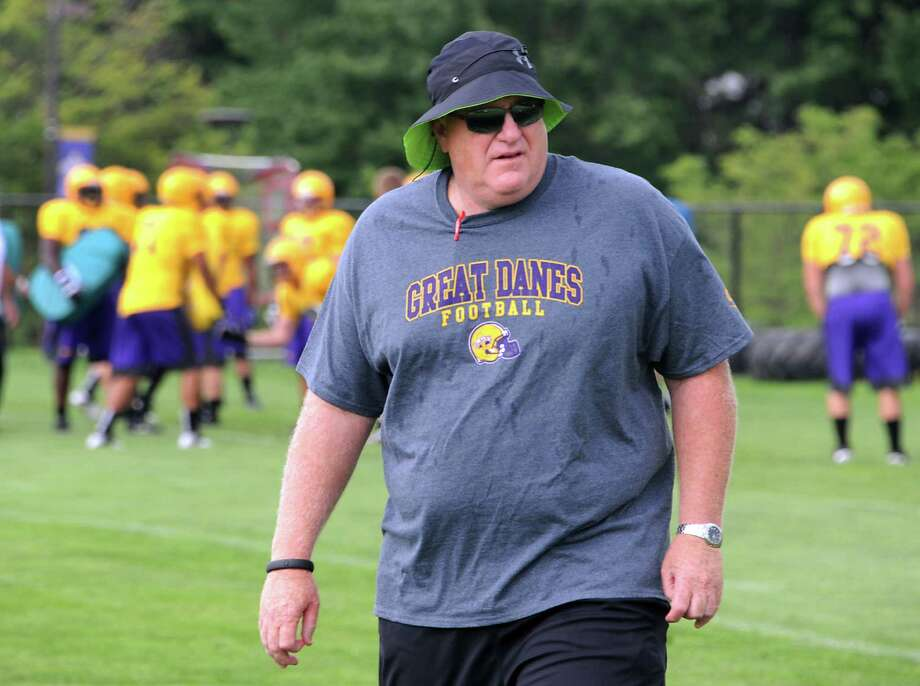 UAlbany's new football coach Greg Gattuso leads his team through a practice on Thursday, Aug. 7, 2014 in Albany, N.Y. (Lori Van Buren / Times Union) Photo: Lori Van Buren / 00028065A