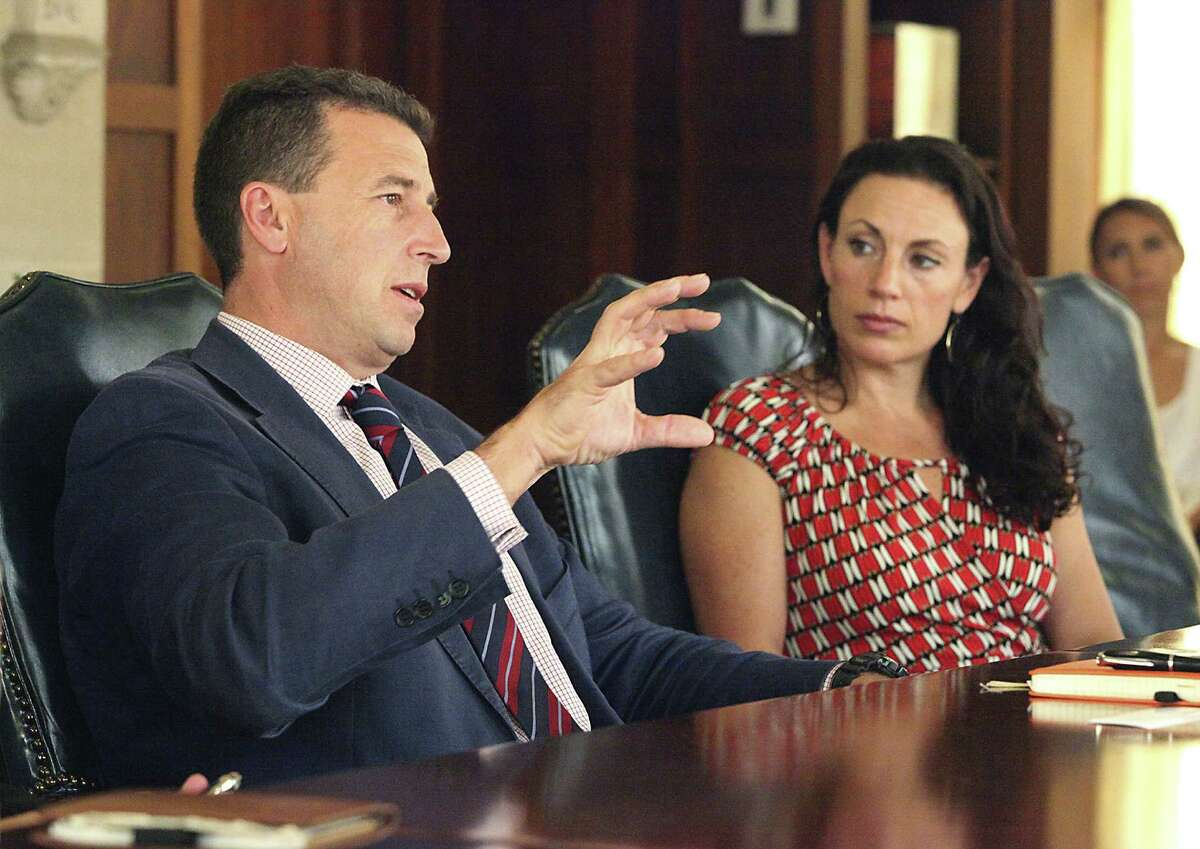 Carlos Cosin Fernandez, CEO of the global water and energy company Abengoa Water, and Francesca McCann, CEO of Abengoa Water USA, discuss the proposed pipeline.
