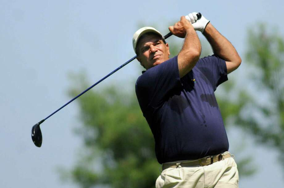 Dan Russo of Hagaman drives off the second tee during Capital Stroke Play on Saturday, Aug. 9, 2014, at Schuyler Meadows Club in Loudonville, N.Y. (Cindy Schultz / Times Union) Photo: Cindy Schultz / 10028081A