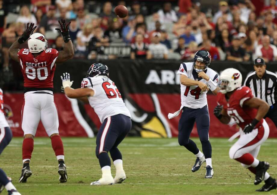 Houston Texans quarterback Ryan Fitzpatrick (14) throws a pass, that fell incomplete, during the first quarter of an NFL pre-season football game against the Arizona Cardinals at University of Phoenix Stadium Saturday, Aug. 9, 2014, in Glendale, Ariz. ( Brett Coomer / Houston Chronicle ) Photo: Brett Coomer, Houston Chronicle