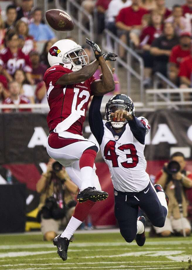 Houston Texans defensive back Elbert Mack (43) breaks up a pass in the end zone intended for Arizona Cardinals wide receiver John Brown (12) during the first quarter of an NFL pre-season football game at University of Phoenix Stadium Saturday, Aug. 9, 2014, in Glendale, Ariz. ( Brett Coomer / Houston Chronicle ) Photo: Brett Coomer, Houston Chronicle
