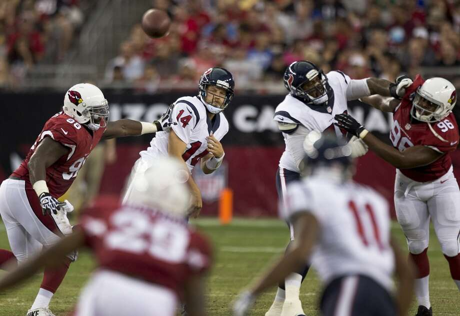 Houston Texans quarterback Ryan Fitzpatrick (14) throws a pass against the Arizona Cardinals during the second quarter of an NFL pre-season football game at University of Phoenix Stadium Saturday, Aug. 9, 2014, in Glendale, Ariz. ( Brett Coomer / Houston Chronicle ) Photo: Brett Coomer, Houston Chronicle