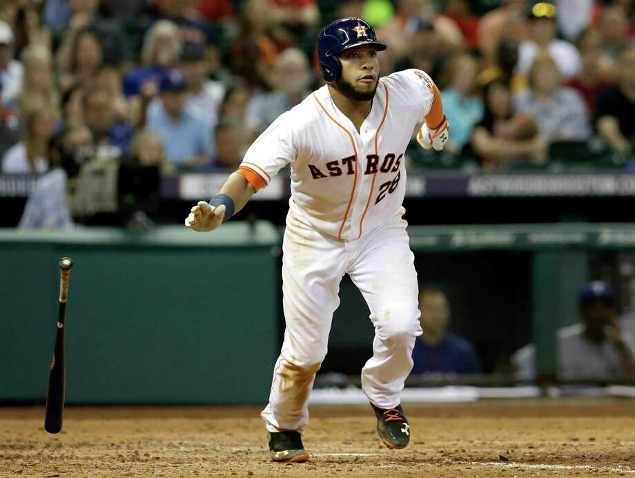 It was Jon Singleton's night Saturday. The rookie first baseman went 2-for-3 with a double, two walks and three RBIs to lead the Astros to an 8-3 victory over the Rangers at Minute Maid Park. Photo: Pat Sullivan, STF / AP
