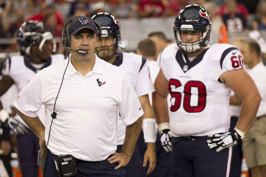 Cardinals 32, Texans 0Houston Texans head coach Bill O'Brien, left, stands next to center Ben Jones (60) on the sidelines before the first quarter of an NFL pre-season football game at University of Phoenix Stadium Saturday, Aug. 9, 2014, in Glendale, Ariz. ( Brett Coomer / Houston Chronicle ) Photo: Brett Coomer, Houston Chronicle