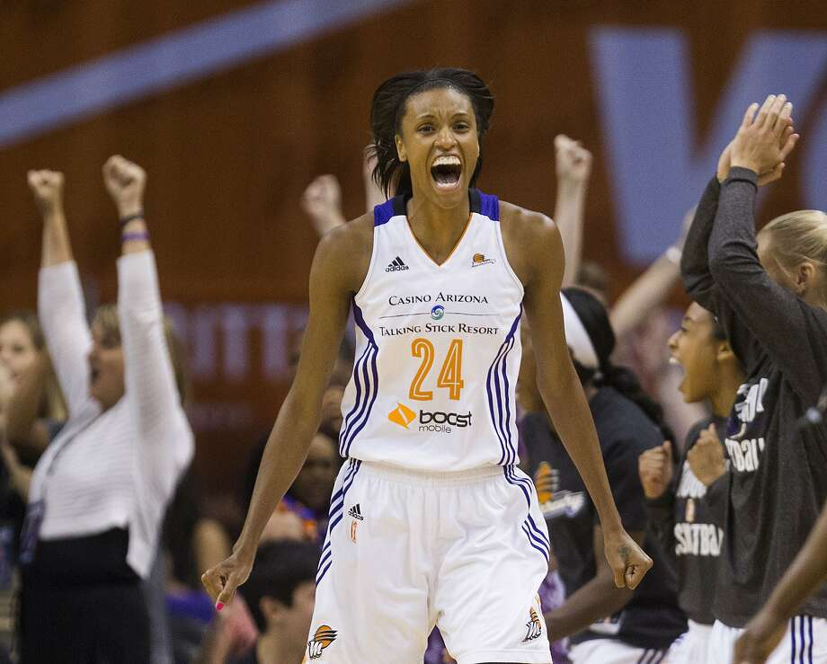 DeWanna Bonner of the Phoenix Mercury celebrates a WNBA win. Photo: Pat Shanahan, Associated Press