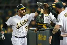 OAKLAND, CA - AUGUST 09:  Derek Norris #36 of the Oakland Athletics is congratulated by teammates after he hit a three-run homer against the Minnesota Twins in the bottom of the six inning at O.co Coliseum on August 9, 2014 in Oakland, California.  (Photo by Thearon W. Henderson/Getty Images)
