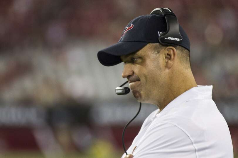 Houston Texans head coach Bill O'Brien reacts after the Texans gave up a safety near the end of the
