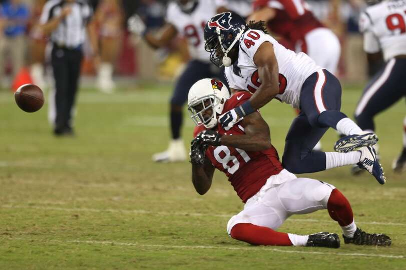 Houston Texans defensive back Marcus Williams (40) breaks up a pass intended for Arizona Cardinals w