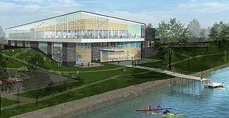 An architectural rendering of the proposed redesign/expansion of the Westport Library. Photo: Contributed Photo / Westport News