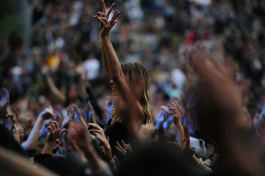 Crowds cheer during Atmosphere's performance on the Sutro stage at Outside Lands Music Festival in Golden Gate Park on August 09, 2014 in San Francisco, CA. Photo: Craig Hudson, The Chronicle