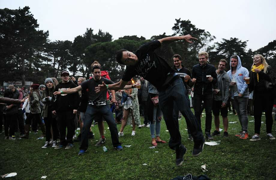 Emmanuel Jiminez performs dance tricks during Atmosphere's set at Outside Lands Music Festival in Golden Gate Park on August 09, 2014 in San Francisco, CA. Photo: Craig Hudson, The Chronicle