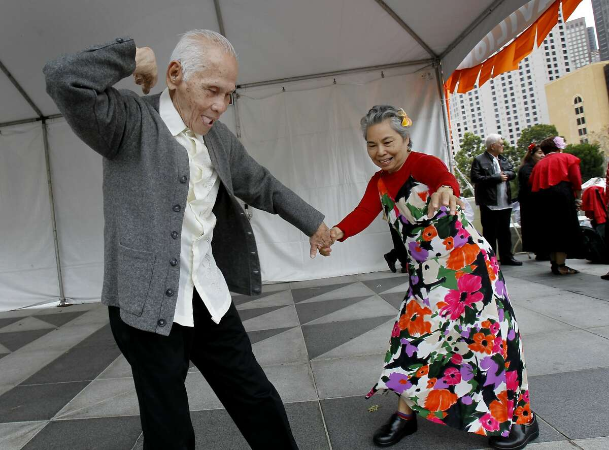 Eighty six year old Leo Ansis (left) danced a swing number with Angie Bagares, 68, at the event Sunday August 10, 2014 in San Francisco, Calif. The 21st annual Pistahan festival was held at Yerba Buena Gardens, the second of a two day celebration of Filipino Culture and Cuisine.