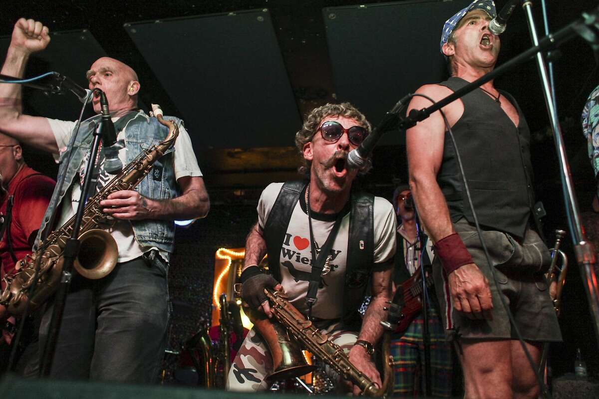 Polkacide, a punk-polka band, plays at Bottom of the Hill in San Francisco on August 8th 2014.