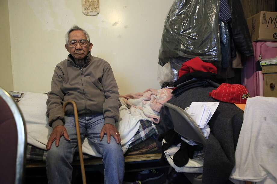WWII Army veteran Anselmo Vinoya has lived in his building for 19 years and says he would have nowhere to go if evicted. Photo: Michael Short, The Chronicle