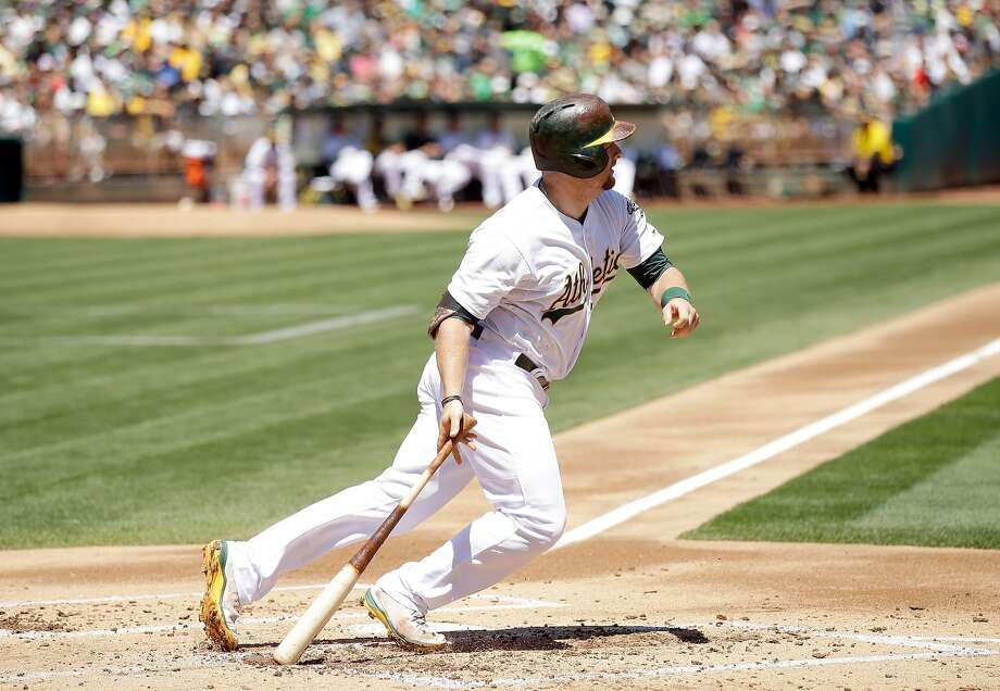 Stephen Vogt knocks in Sam Fuld with a single in the first, but the A's fell 6-1 to the Twins. Page E5 Photo: Ezra Shaw, Getty Images