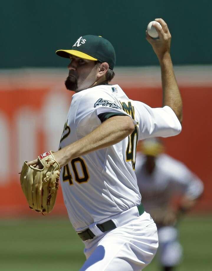 Jason Hammel gave up a run in 61/3 innings before the Twins got to the A's bullpen. Photo: Ben Margot, Associated Press