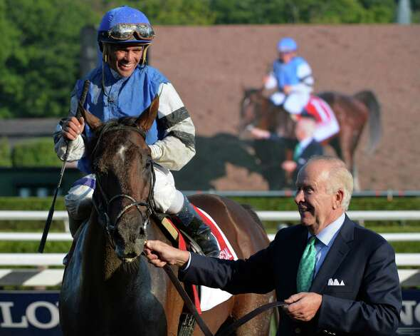 Owner Alex Leiblong guides I Spent It with jockey Javier Castellano to the winner's circle after winning the 109th running of the Toyota Saratoga Special Aug. 10, 2014 at the Saratoga Race Course in Saratoga Springs, N.Y.     (Skip Dickstein/Times Union) Photo: SKIP DICKSTEIN