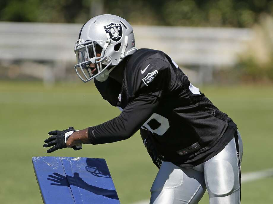 TJ Carrie, who had four interceptions at Ohio University last season, is making a good impression on the Raiders' coaches. Photo: Eric Risberg, Associated Press