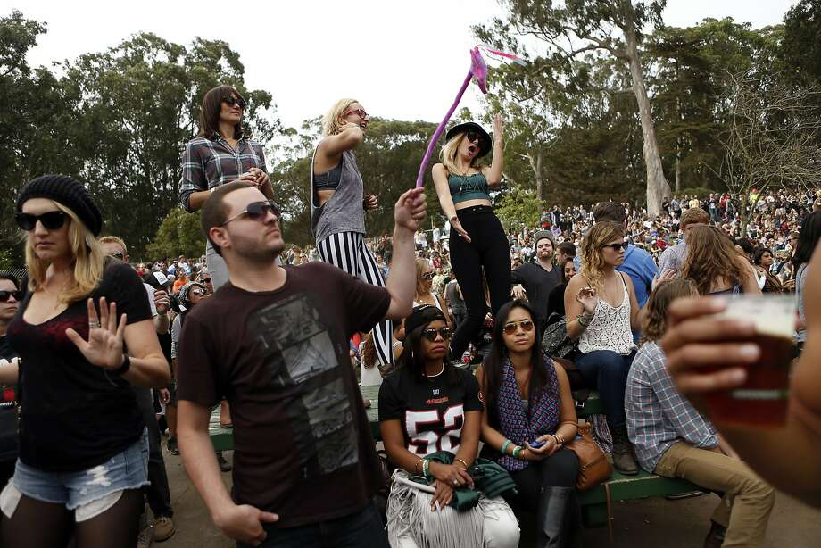 Festival-goers dance while Flume plays during Outside Lands festival at Golden Gate Park in San Francisco, Calif. on Sunday, August 10, 2014. Photo: Scott Strazzante, The Chronicle