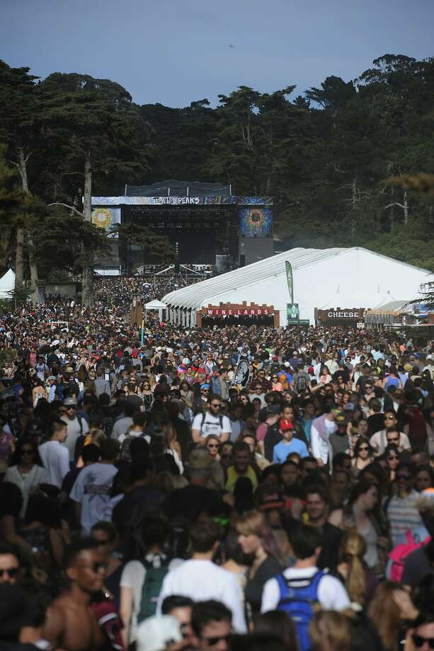 Crowds of people move to and from the Twin Peaks stage at Outside Lands Music Festival in Golden Gate Park on August 10, 2014 in San Francisco, CA. Photo: Craig Hudson, The Chronicle