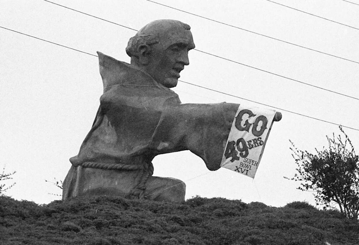 Junipero Serra:We've had a couple natives say you pronounce both the boulevard and the California mission-founding friar as 'you-nip-er-oh' while many other longtime residents insist it's more of a 'hoo-nip-er-oh.'  Pictured: Father Junipero Serra is dressed up with a 49ers sign in the days before Super Bowl XVI. Jan. 20, 1982.