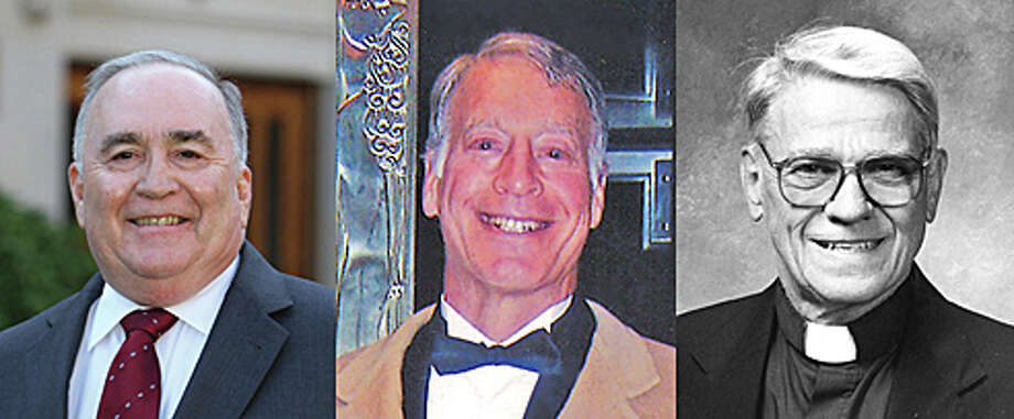 Three alumni are being honored by Fairfield College Preparatory School on Sept. 5 for their service to others. They are, from left: John Altieri, Jr.; the late J. Richard McCarthy; and Monsignor Joseph Potter. Photo: Contributed Photo / Fairfield Citizen