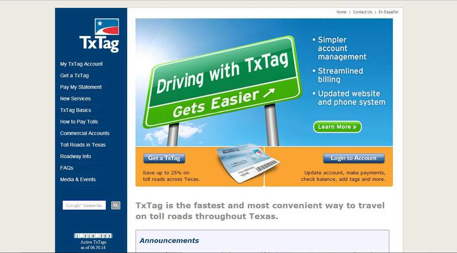 A screenshot of TxTag.org. More than 1,250 people cannot access their accounts online to pay toll road fees after glitches in the system disrupted traffic. Photo: Joshua Fechter, Screenshot Via TxTag.org