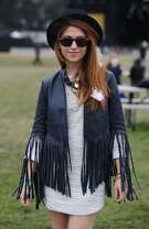 Kayla Pacioni wears fashionable clothes at Outside Lands Music Festival in Golden Gate Park on August 10, 2014 in San Francisco, CA.