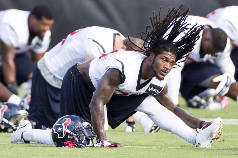 Strong safety D.J. Swearinger stretches.